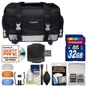 Canon 100DG Digital SLR Camera Case-Gadget Bag with 32GB SD Card and Diffuser Filter Set and Kit