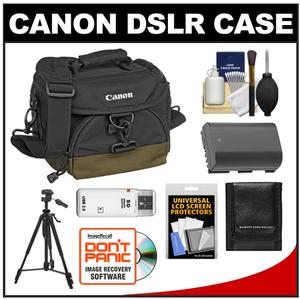 Canon 100EG Digital SLR Camera Case-Gadget Bag with LP-E6 Battery and Tripod and Accessory Kit