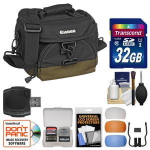 Canon 100EG Digital SLR Camera Case-Gadget Bag with 32GB Card and Flash Diffusers and Kit