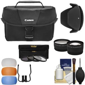 Canon 100ES DSLR & Video Camera Case with Flash Diffusers + 3 Filters + Hood + Wide/Tele Lens Kit for 18-55mm IS Lens