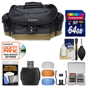 Canon 10EG Deluxe Digital SLR Camera Case-Gadget Bag with 64GB Card and Flash Diffusers and Kit