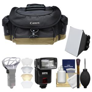 Canon 10EG Deluxe Digital SLR Camera Case-Gadget Bag with Flash and Soft Box and Diffuser Bouncer and Kit