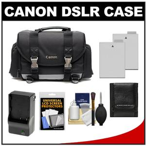 Canon 200DG Digital SLR Camera Case - Gadget Bag with 2 LP-E8 Batteries & Charger + Accessory Kit