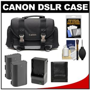 Canon 200DG Digital SLR Camera Case - Gadget Bag with 2 LP-E6 Batteries & Charger + Accessory Kit