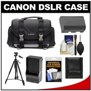 Canon 200DG Digital SLR Camera Case - Gadget Bag with LP-E6 Battery & Charger + Tripod + Accessory Kit