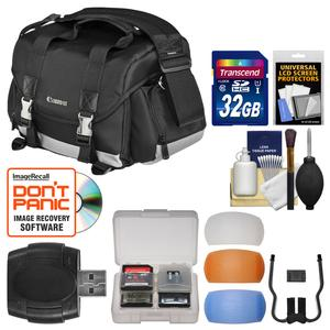 Canon 200DG Digital SLR Camera Case-Gadget Bag with 32GB Card and Diffuser Filter Set and Kit