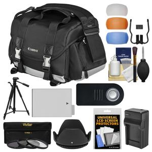 Canon 200DG Digital SLR Camera Case-Gadget Bag with LP-E8 Battery and Tripod and Filters and Kit for Rebel T3i T4i T5i and 18-135mm IS Lens