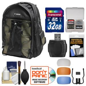 Canon 200EG Deluxe Digital SLR Camera Backpack Case with 32GB Card and Flash Diffusers and Kit