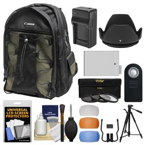 Canon 200EG Deluxe Digital SLR Camera Backpack Case with LP-E8 Battery + Tripod + Filters + Kit for Rebel T3i T4i T5i & 18-55mm IS Lens