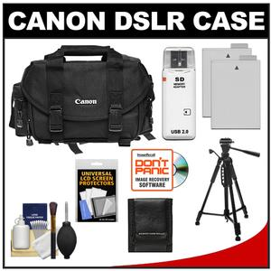 Canon 2400 Digital SLR Camera Case - Gadget Bag with (2) LP-E8 Batteries + Tripod + Accessory Kit