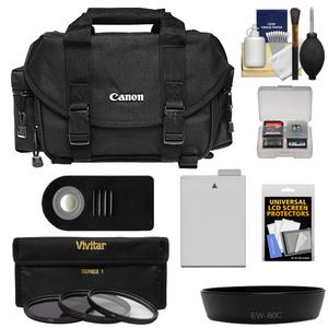 Canon 2400 Digital SLR Camera Case-Gadget Bag with 3 UV-CPL-ND8 Filters and LP-E8 Battery and Remote and Hood and Accessory Kit