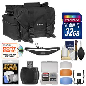 Canon 2400 Digital SLR Camera Case-Gadget Bag with 32GB Card and Flash Diffuser and Sling Strap and Kit