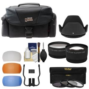 Canon Rebel Digital SLR Camera Case with Telephoto and Wide-angle Lenses + 3 UV-CPL-ND8 Filters + Flash Diffusers + Kit