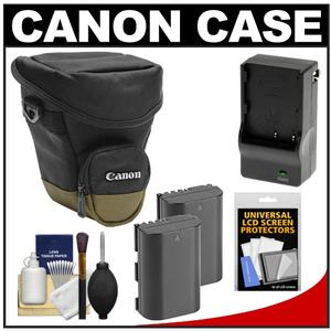 Canon Zoom Pack 1000 Digital SLR Camera Holster Case with-2-LP-E6 Batteries and Charger and Accessory Kit