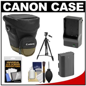 Canon Zoom Pack 1000 Digital SLR Camera Holster Case with LP-E6 Battery and Charger and Tripod and Accessory Kit