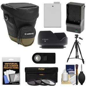 Canon Zoom Pack 1000 Digital SLR Camera Holster Case with LP-E8 Battery and Charger + 3 Filters + Tripod + Remote + Hood + Accessory Kit