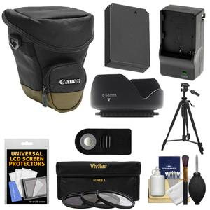 Canon Zoom Pack 1000 Digital SLR Camera Holster Case with LP-E12 Battery and Charger + 3 Filters + Tripod + Remote + Hood + Accessory Kit