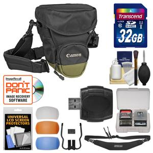 Canon Zoom Pack 1000 Digital SLR Camera Holster Case with 32GB Card and Sling Strap and Diffuser Filter Set and Kit