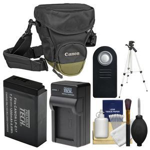 Canon Zoom Pack 1000 Digital SLR Camera Holster Case with LP-E17 Battery and Charger + Tripod + Remote + Kit for Rebel T6s T6i T7i EOS 77D
