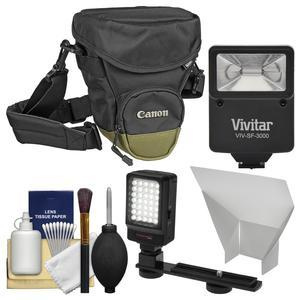 Canon Zoom Pack 1000 Digital SLR Camera Holster Case with Flash + Video Light + Reflector + Kit