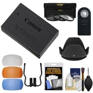 Canon LP-E17 Rechargeable Battery Pack with 3 67mm Filters + Hood + Diffusers Kit for EOS 77D Rebel T6i T6s T7i and 18-135mm IS