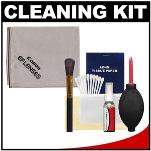 Canon Optical Digital Camera and Lens Cleaning Kit - Brush Microfiber Cloth Fluid and Tissue - with Precision Design Hurricane Blower