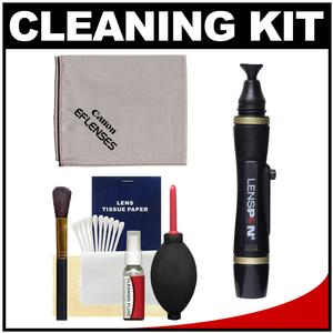 Canon Optical Digital Camera and Lens Cleaning Kit - Brush Microfiber Cloth Fluid and Tissue - with Blower + Lenspen