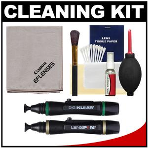 Canon Optical Digital Camera and Lens Cleaning Kit - Brush Microfiber Cloth Fluid and Tissue - with Blower + Lenspen + DigiKlear