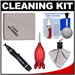 Canon Optical Digital Camera and Lens Cleaning Kit - Brush Microfiber Cloth Fluid and Tissue - with Giottos Rocket-Air Blower + Lenspen + Accessory Kit