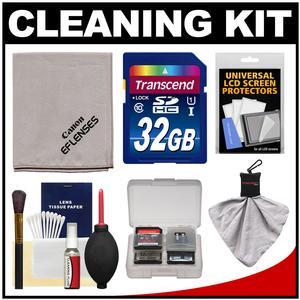 Canon Optical Digital Camera and Lens Cleaning Kit - Brush Microfiber Cloth Fluid and Tissue - with 32GB SDHC Card + Blower + Accessory Kit