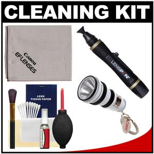 Canon Optical Digital Camera and Lens Cleaning Kit - Brush Microfiber Cloth Fluid and Tissue - with Flashlight Keychain + Blower + Lenspen