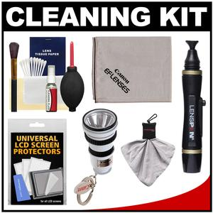 Canon Optical Digital Camera and Lens Cleaning Kit-Brush Microfiber Cloth Fluid and Tissue-with Flashlight Keychain and Blower and Lenspen and Spudz and LCD Screen Protectors