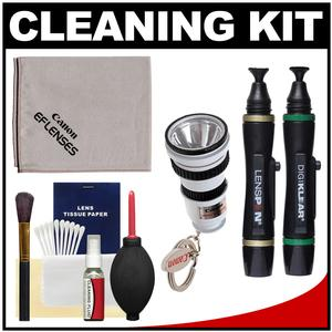 Canon Optical Digital Camera and Lens Cleaning Kit - Brush Microfiber Cloth Fluid and Tissue - with Flashlight Keychain + Blower + Lenspen + Digi-Klear