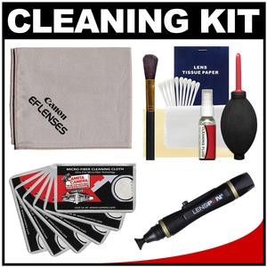 Canon Optical Digital Camera and Lens Cleaning Kit-Brush Microfiber Cloth Fluid and Tissue-with Lenspen and Hurricane Blower and 6 Cleaning Cloths
