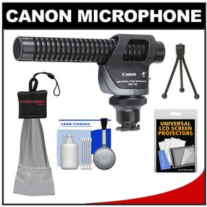 Canon DM-100 Directional Stereo Microphone with Mini Spudz and LCD Screen Protectors and Lens Cleaning Kit