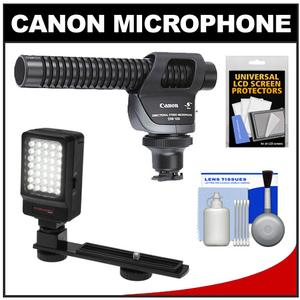Canon DM-100 Directional Stereo Microphone with LED Light and Bracket and Cleaning Kit
