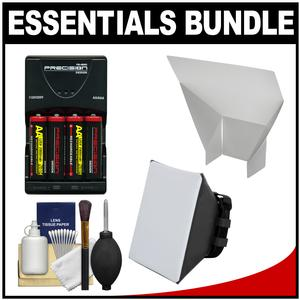 Essentials Bundle for Canon Speedlite 320EX 430EX II III-RT 600EX II-RT Flash with-4-AA Batteries and Charger and Soft Box Diffuser and Reflector and Cleaning Kit