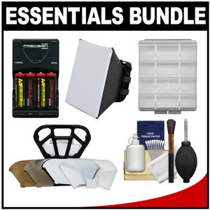 Essentials Bundle for Canon Speedlite 320EX 430EX II III-RT 600EX II-RT Flash with - 4 - AA Batteries and Charger + Soft Box Diffuser + Diffuser Bouncer + Accessory Kit