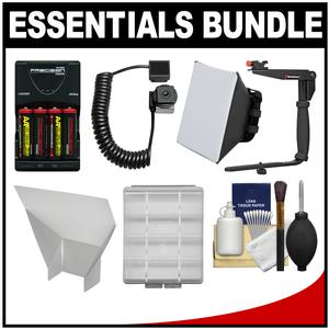 Essentials Bundle for Canon Speedlite 320EX 430EX II III-RT 600EX II-RT Flash with - 4 - AA Batteries and Charger + Bracket + Soft Box Diffuser + Reflector Kit