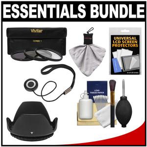 Essentials Bundle for Canon EF 40mm f-2.8 STM Pancake Lens with 3 - UV-CPL-ND8 - Filters + Hood + Accessory Kit