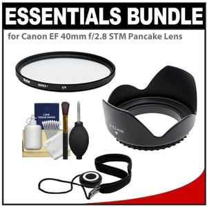 Essentials Bundle for Canon EF 40mm f-2.8 STM Pancake Lens with Filter + Lens Hood + Accessory Kit
