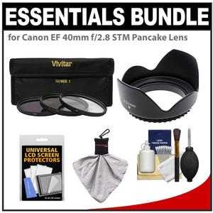 Essentials Bundle for Canon EF 40mm f-2.8 STM Pancake Lens with 3 - UV-CPL-ND8 - Filters + Lens Hood + Accessory Kit