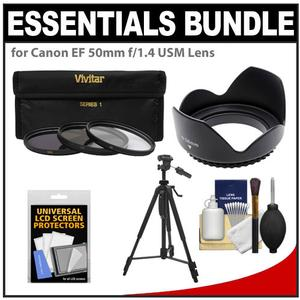 Essentials Bundle for Canon EF 50mm f-1.4 USM Lens with 3 - UV-CPL-ND8 - Filters + Lens Hood + Tripod + Accessory Kit