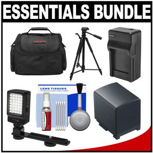 Essentials Bundle for Canon Vixia HF G20 G30 G40 Camcorder with Case and LED Light and Bracket and BP-820 Battery and Charger and Tripod and Accessory Kit