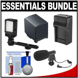 Essentials Bundle for Canon Vixia HF G20 G30 G40 Camcorder with LED Light and Bracket + Mic + BP-820 Battery and Charger + Accessory Kit