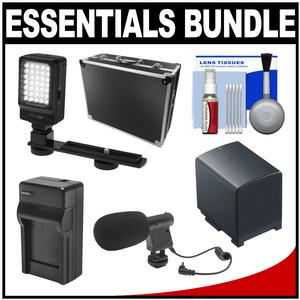 Essentials Bundle for Canon Vixia HF G20 G30 G40 Camcorder with Case + LED Light and Bracket + Mic + BP-820 Battery and Charger + Accessory Kit