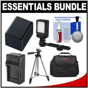 Essentials Bundle for Canon Vixia HF R70 R700 R72 R80 R800 R82 Camcorder with Case + LED Light + BP-727 Battery and Charger + Tripod + Cleaning Kit