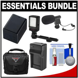 Essentials Bundle for Canon Vixia HF R70 R700 R72 R80 R800 R82 Camcorder with Case + LED Light + Microphone + BP-727 Battery and Charger + Cleaning Kit