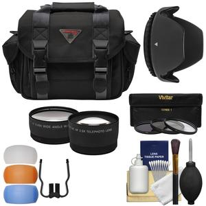 Essentials Bundle for Canon EOS 77D Rebel T4i T5i T6 T6s T6i T7i and 18-55mm Lens with Case + Wide-Tele Lenses + 3 Filters - UV-CPL-ND8 - + Lens Hood + Accessory Kit