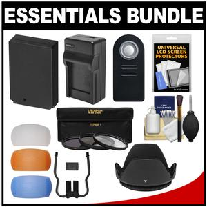 Essentials Bundle for Canon Rebel SL1 DSLR Camera & 18-55mm Lens with LP-E12 Battery + Charger + 3 UV/CPL/ND8 Filters + 3 Color Diffusers + Lens Hood + Kit